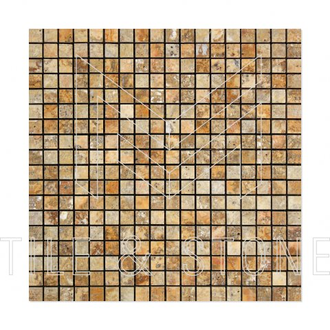Scabos Travertine Mosaic 5/8x5/8  3/8 Polished