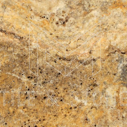 Scabos Travertine Tile - (Cross-cut) 12x12  3/8 Filled & Honed