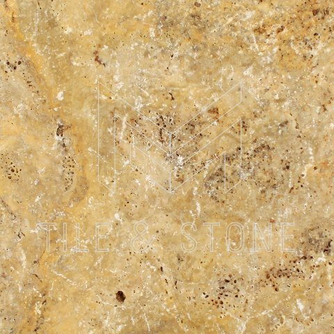 Scabos Travertine Tile - (Cross-cut) 18x18  1/2 Unfilled, Brushed & Chiseled
